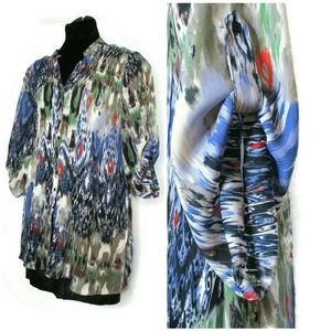 22/24 Flowing Watercolor Floral Top Blouse